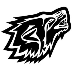 Vector illustration of wolf head. Tattoo style