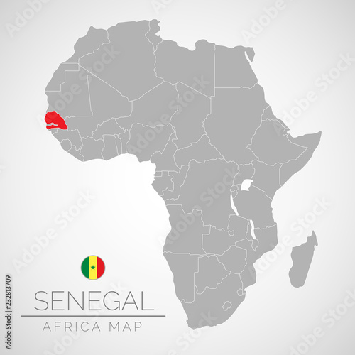 Map Of Africa With The Identication Of Senegal Map Of Senegal