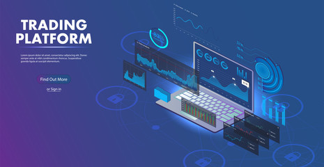 Data Analysis for website. Online Statistics and Analysis digital money market.  Landing page template. 3D Isometric illustration.  Data Statistics concept. Vector 3D isometric