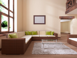 The interior is modern in style with a large rattan sofa and green cushions.