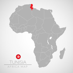 Map of Africa with the identication of Tunisia. Map of Tunisia. Political map of Africa in gray color. Africa countries. Vector stock.