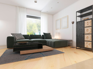 Luxurious modern studio apartment in Contemporary style.