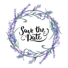 Purple lavender. Floral botanical flower. Save the date handwriting monogram calligraphy. Frame border ornament square.