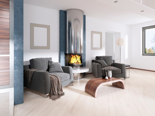 Two chairs near the fireplace in Contemporary style.