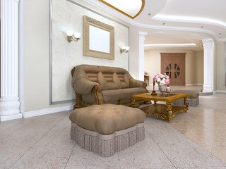 Sofa and two armchairs with a coffee table in a classic style near the wall with a picture.