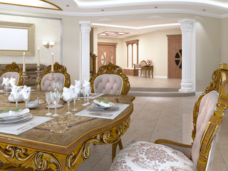 Dining table with baroque style chairs overlooking the foyer with a corridor.