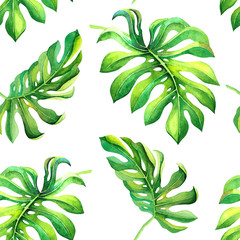 Green tropical leaves isolated on white background. Summer natural seamless pattern with exotic foliage for decoration, party banner, fashion textile print, cover, wrapping paper, wallpaper