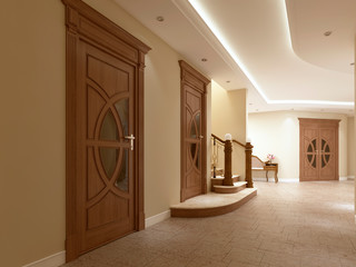 A corridor with doors and stairs in a luxurious interior.
