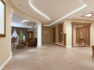 Foyer in a luxury house in a classic style with a staircase.