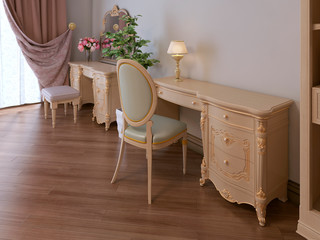 Work desk and dressing table in the bedroom in a classic style.