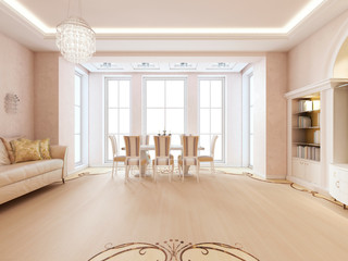 Luxurious white dining table by the window in the living room.