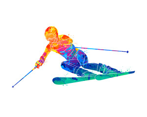 Abstract skiing. Descent giant slalom skier from splash of watercolors. Winter sports