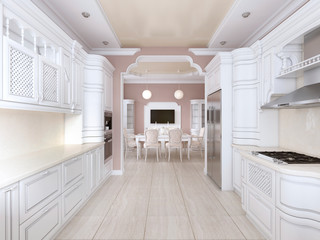 Kitchen-dining room in classic style, in postel colors with white kitchen furniture and built-in appliances.