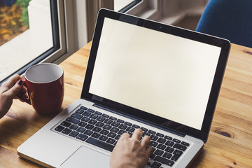 Woman's hands using laptop with blank screen on desk in home interior.