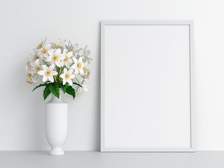 Blank photo frame for mockup and flower, 3D rendering