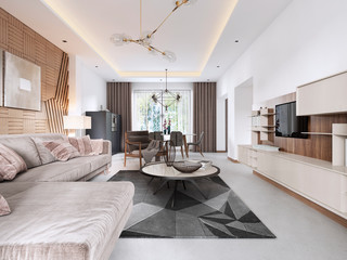 Luxurious living room in Contemporary style with wooden decorative panel on the wall. Studio apartment with a sofa and a dining table.