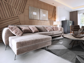 Luxurious soft sofa in the living room modern style with a table and a lamp.