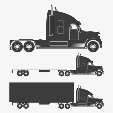 Truck set in gray color. Vector illustration of truck with trailer, isolated on white background.