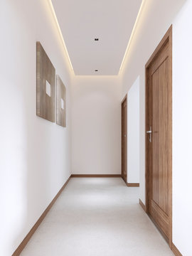 White corridor in a modern style with wooden fittings.