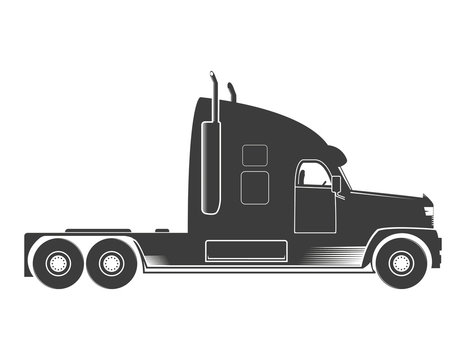 American truck icon, logo. Vector illustration of monochrome truck in flat design isolated on white background.