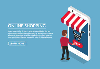 Vector image of mobile online store in flat isometric style. Page template. The man presses the buy button. Shop - smartphone under a canopy with a picture of a shopping basket. Infographic element.