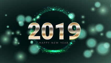 Green emerald 2019 Happy New Year card with premium bokeh magic texture background. Festive rich premium luxury design for holiday card, invitation, calendar poster. Happy 2019 New Year text