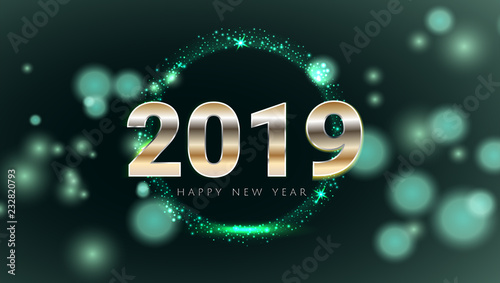 green emerald 2019 happy new year card with premium bokeh magic texture background festive rich