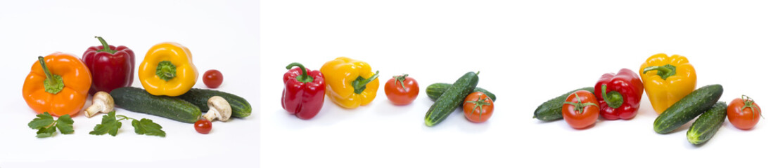 Red yellow and orange peppers with tomatoes on a white background..Multicolored vegetables in a composition on a white background..