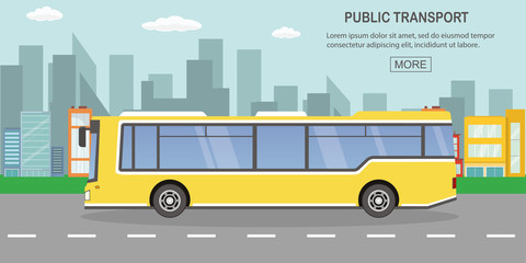 public transport concept,yellow city bus on empty road