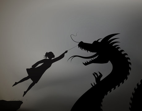girl catching the fairy dragon and holding it on the thread, scene from the fairytale in the dreamland, black and whitel, shadows,