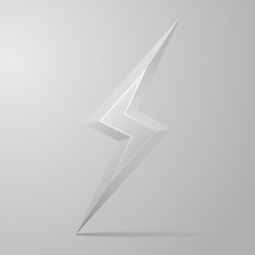 Iron 3D lightning. Lightning logo. Vector illustration of lightning with shadow, isolated on gray background with light from upper left corner.
