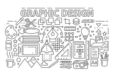 Line Art Design. Graphic Design Theme With Flat, Black And Bold Outlines. Youth Doodle Concept