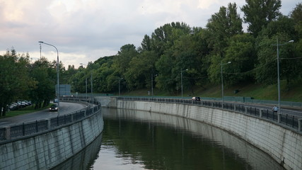 Summertime night shots of Moscow the Yauza river