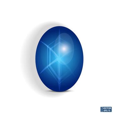 Jewelry gemstone. Blue star sapphire