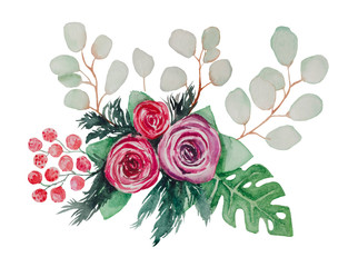 Watercolor bouquet from Shimadaijin peonies, eucalyptus branches, Monstera leaves and decorative berries.