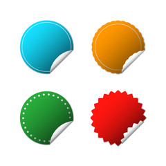 set of cut out round sticker in green, blue, yellow and red