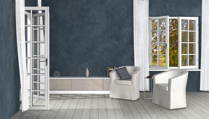 Wohnzimmer Interior Design im Landhausstil mit geöffnetem Fenster und Terrassentür zum Lüften