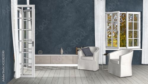 Wohnzimmer Interior Design Im Landhausstil Mit Geöffnetem Fenster