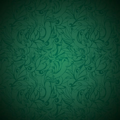 vintage green background with floral elements and darkening to the edges in Gothic style. Royal texture, vector Eps 10