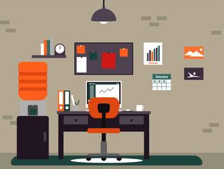 Blogger simple flat workspace in unique color scheme