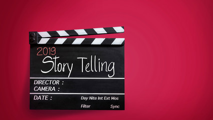 2019 story telling ,text title on movie Clapper board