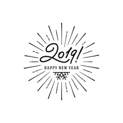 2019 Happy New Year Starburst Black White. Vector illustration.