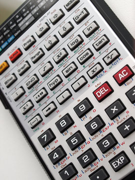 close up of scientif electronic calculator keyboard