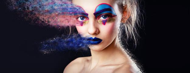 Wall Mural - Portrait Fashion Model Woman Creative Make Up, Studio Photo, Effect.