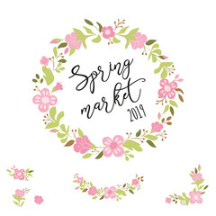 Cute spring floral wreath Collection in pink green colors Text Spring Market Vector illustration