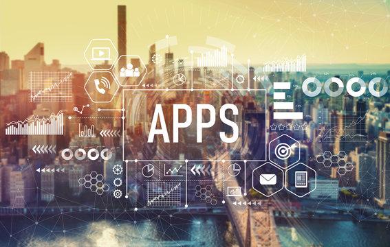 Apps with the New York City skyline near midtown
