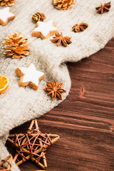 Winter and New Year theme. Spices, orange, cinnamon, anise