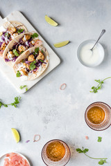 Cauliflower tacos with beer