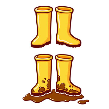 Cartoon yellow rain boots