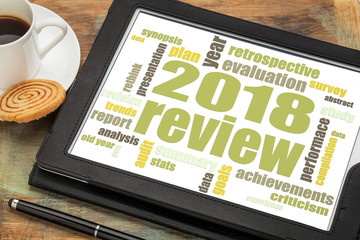 2018 annual  review word cloud on tablet